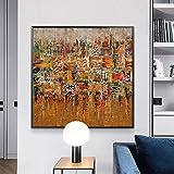 Caligrafía musulmana Pinturas de arte abstracto Impresión en lienzo Carteles de arte e impresiones Arte islámico Imágenes modernas para la decoración de la sala de estar / 60x60cm (Sin marco)