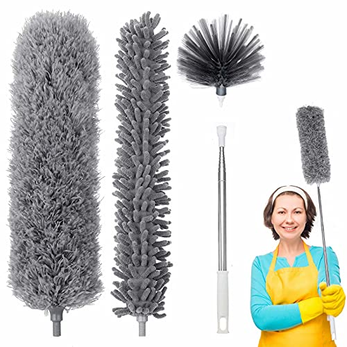 Microfiber Duster, Duster Cleaning Kit with 100 Inch Stainless Steel Extension Pole, Reusable & Bendable & Washable Duster for Cleaning Cobwebs, Ceiling Fan, Blinds, Furniture, Cars