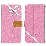スマホケース 手帳型 カードタイプ LG Q Stylus 801LG [リボン・ピンク] ラッピング ギフト ブランドカラー エルジー キュー スタイル スマホカバー 携帯ケース [FFANY] ribbon 200345c