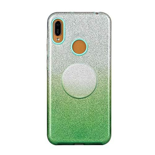 Nadoli für Xiaomi Redmi Note 8T Gradient Glitzer Hülle,3 Schicht Glänzende Stoßfest Silikon Stoßdämpfung Transparent Hart Hybride Dünn Glitzer Schutzhülle Handyhülle mit Ständer