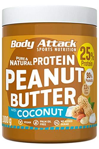 Body Attack Peanut Butter With Cocos Cream Natural 25% Protein Sugar & Fat Free Coconut 1 kg