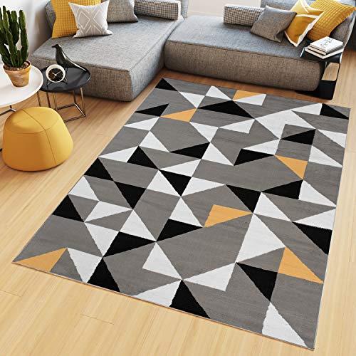 TAPISO Maya Alfombra de Salón Sala Diseño Moderno Naranja Gris Negro Blanco Geométrico Triángulos Mosaico 160 x 230 cm
