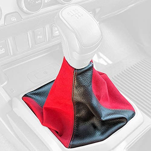RedlineGoods Shift Boot Compatible with Toyota Corolla 2003-07 Black Leather-Red Thread