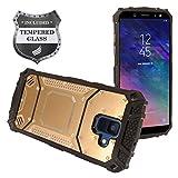 Eaglecell – kompatibel mit Samsung Galaxy A6 (2018) SM-A600 – Aluminium-Metall-Hybrid-Hülle + Bildschirmschutzfolie aus gehärtetem Glas, ZY1 Gold