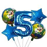 ENXI Globos 5 UNIDS Super Mario Globos 30 Pulgadas Número de niño Chica Fiesta Decoraciones Cumpleaños Mario Luigi Bros Mylar Globos Decoración ( Color : White )