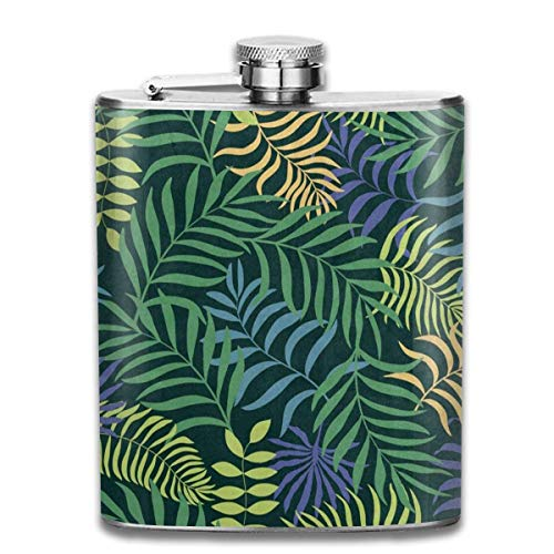 Rundafuwu Pallone per liquore, Stainless Steel Flask Tropical Palm Tree Leaf Whiskey Flask Vodka Portable Pocket Bottle Camping Wine Bottle 7oz Suitable for Men And Women