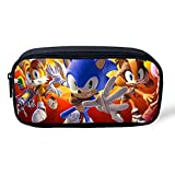 Sonic The Hedgehog AniméTrousse trousse So-nic Pencil Case Pen Box Pencil Box trousse de papeterie maquillage cosmétique sac de stylo de bureau for School Home and Office Supplies Kid