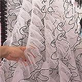 Mejor 12 cm de muselina de seda plisada, tul de encaje, aplique volante, cinta...
