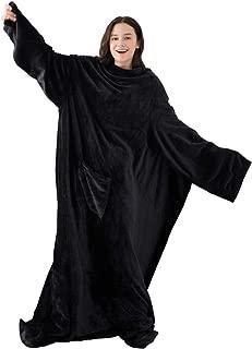 Winthome着る毛布 ブランケット 袖付き毛布 着るブランケット防寒 軽量 冬の寒さ 足先の冷えや節電対策に!男女兼用 着丈190cm (ブラック)