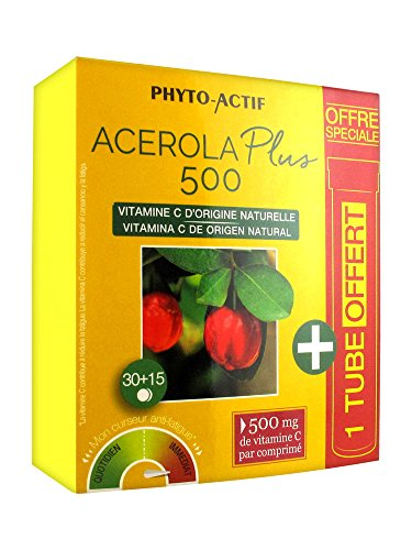 Laboratoire Phyto-Actif Acérola Plus 500 30 Comprimés + 15 Comprimés Offerts