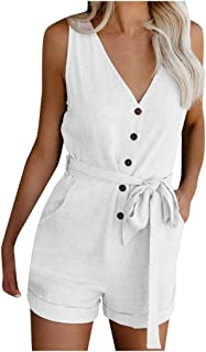 Women Solid V Neck Jumpsuits Rompers, Ladies Casual Pocket Button Sleeveless Bodysuit with Belt