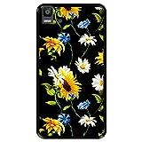Hapdey Funda Negra para [ Bq Aquaris E5s - E5 4G ] diseño [ Patrón Floral, Flores Multicolores 2 ] Carcasa Silicona Flexible TPU