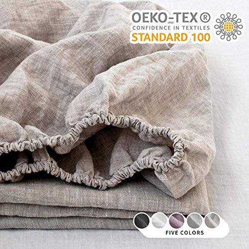 King Linens 100% Linen Fitted Sheet Stone Washed Solid Color - (1 Piece) 14 inch Deep Pocket Mattress Cover Soft Natural Breathable Farmhouse - Linen, King Size
