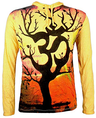 Weed Herren Kapuzen Longsleeve Shirt - Om Magischer Baum Aom Symbol Buddhismus Esoterik Yoga Psychedlic Stylish (Gelb L)