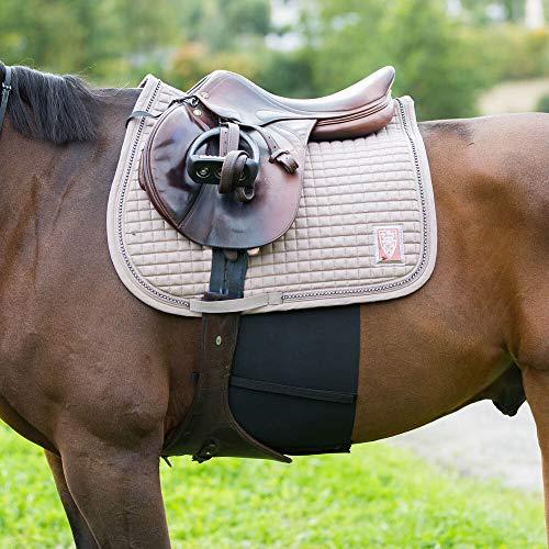 horze Elastischer Sporenschutzgurt Pferd, Sporenschutz Bandage Aus Lycra Polyester Für Pony Oder Warmblut, Schwarz, F