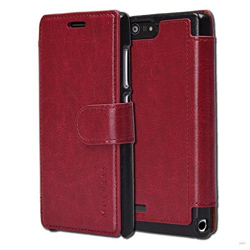 Mulbess Handyhülle für Huawei Ascend P7 Mini Hülle Leder, Huawei Ascend P7 Mini Handy Hülle, Layered Flip Handytasche Schutzhülle für Huawei Ascend P7 Mini Hülle, Wein Rot