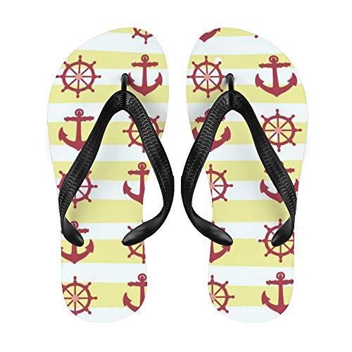 Anchor Flip-Flop Strand Sommer Hausschuhe Custom Haus Schuhe Sandalen für Damen Herren Retro Bicolor Streifen Wassertropfen, Weiß - Nauti30 - Größe: Large