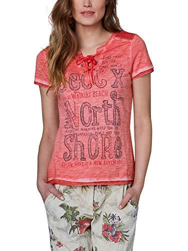 SOCCX Damen Serafino-Shirt mit Mesh-Details und Print