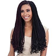 """FreeTress Equal Synthetic Hair Braids Double Strand Style Cuban Twist Braid 24"""" (6-Pack, 1B)"""