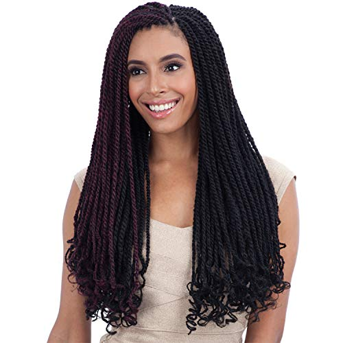 FreeTress Equal Synthetic Hair Braids Double Strand Style Cuban Twist Braid 24' (6-Pack, 1B)