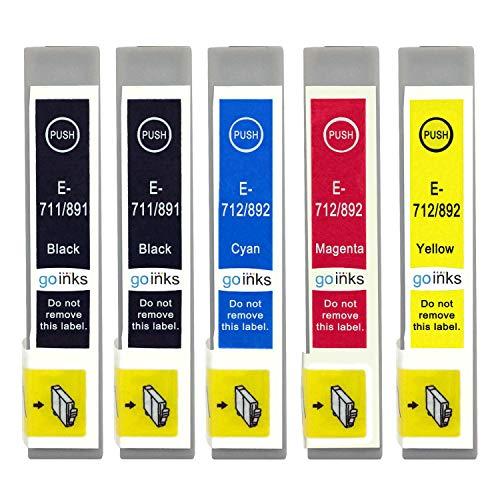 Go Inks E-715/711 Compatible Set de 4 + Noir Supplémentaire Cartouches d'encre pour remplacer T0711, T0712, T0713, T0714 (T0715) pour une utilisation avec les imprimantes Epson Stylus (Paquet de 5)