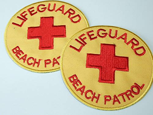 OneKool 4 x Lifeguard Baywatch Aufnäher Bügelbild Aufbügler Iron on Patches Applikation Kreuz Neu