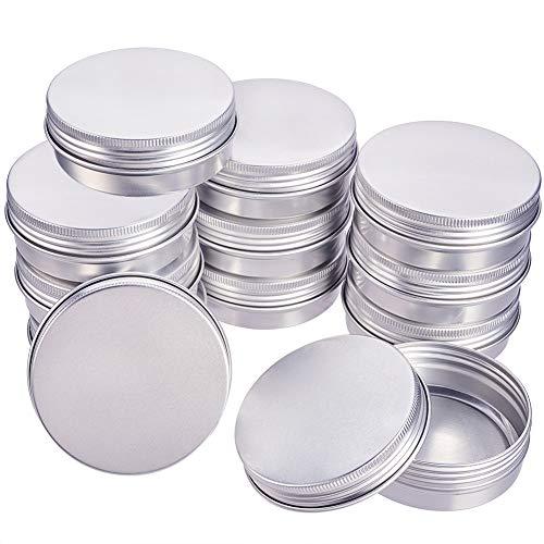 BENECREAT 14 Pack 60ml Lata de Aluminio Redondo Contenedor de Cosmético con Tapa de Rosca - Ideal para Almacenar Pequeñas Cosas(Platino)