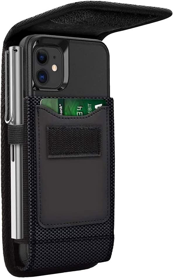 Tznzxm Flip Phone Case for Alcatel TCL A3X Holster, Belt Case Holster Cover with Clip Carrying Pouch Holder Sleeve for Tracfone Alcatel TCL A3X A600DL with A Thin Case On - Built in Card Slot Black