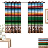 MartinDecor Mexican Customized Curtains Boho Serape Blanket with Horizontal Stripes and Lines Authentic Cultures Picture 63'x 63',Suitable for Bedroom Living Room Study, etc.