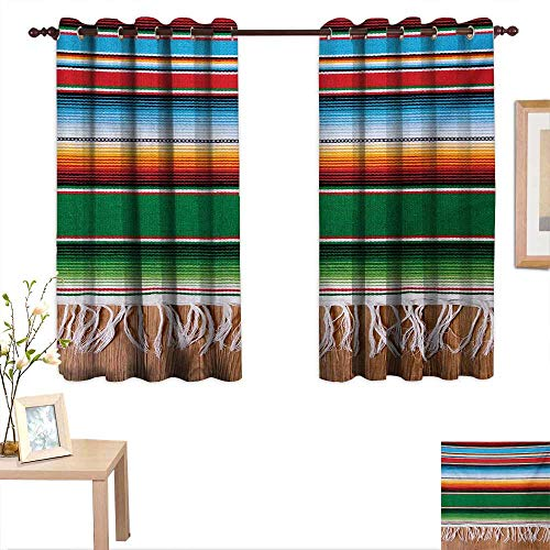"MartinDecor Mexican Customized Curtains Boho Serape Blanket with Horizontal Stripes and Lines Authentic Cultures Picture 63""x 63"",Suitable for Bedroom Living Room Study, etc."