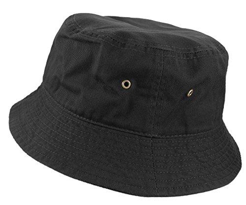 Gelante 100% Cotton Packable Fishing Hunting Summer Travel Bucket Cap Hat 1900-Black-S/M