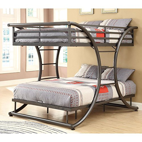 StarSun Depot Full Over Full Size Modern Metal Bunk Bed Frame in Gunmetal Finish