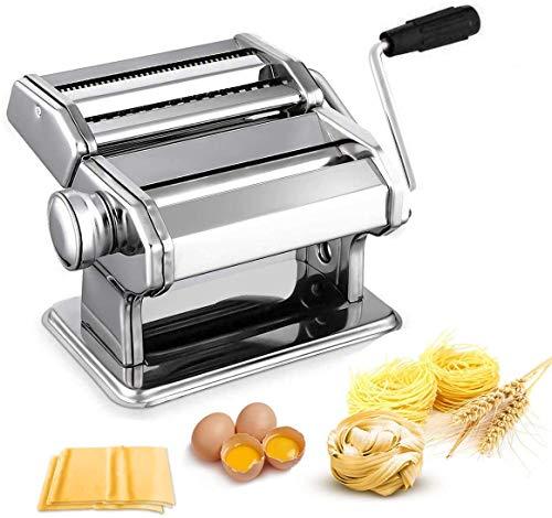 Nudelmaschine Pasta Maker Edelstahl Frische Manuell Pasta Walze Maschine Cutter mit Klemme für Spaghetti Nudeln Lasagne Bestes Pastamaschine Nudel Maschine Geschenk