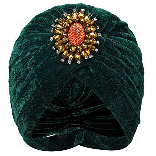 Coucoland Damen Turban Hut mit Kristall Brosche 1920s Haarband Exotisch Retro Indischer Turban Hut Damen Fasching Kostüm Accessoires (Grün)