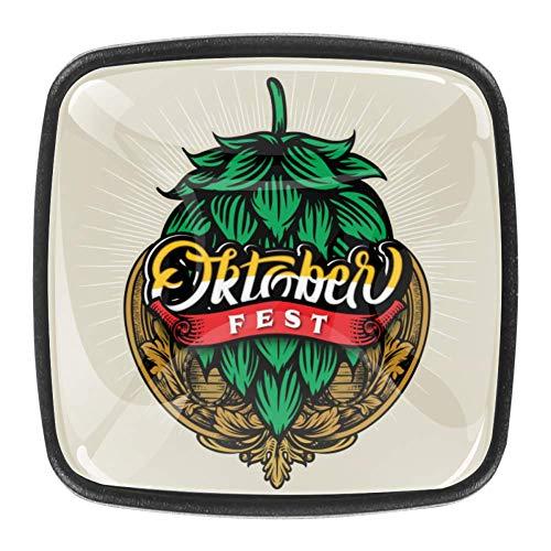 Shiiny Oktoberfest Vintage Logo 4 piezas Set de pomos de cristal para gabinete con asa de cajón para cocina, armario, aparador, armario, etc.