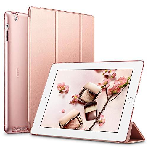 ESR Custodia per iPad 2/3/4 Smart Case Trifold in Pelle Sintetica e Traslucido Smerigliato della Cover Magnetica con Funzione Auto Wake & Sleep Cover per iPad 2/iPad 3/iPad 4 (Oro Rosa)