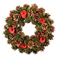 Dibor Beautiful Christmas Wreath with pine cones ,Red berries and Red Christmas Roses
