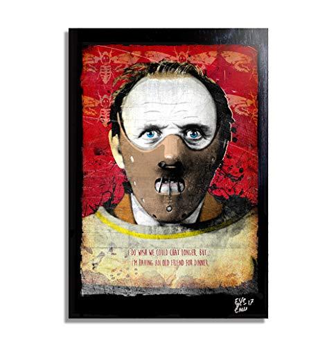 Hannibal Lecter, Silence of The Lambs/El Silencio de los Corderos - Pintura Enmarcado Original, Imagen Pop-Art, Impresión Póster, Impresion en Lienzo, Cuadro, Cómics, Cartel de la Película, Horror