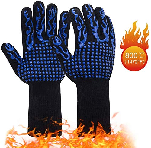 ACOMOO Barbecue Gloves 800℃/1472℉ Very high Temperature Resistant Barbecue Gloves with Finger Non-Slip Oven Gloves, Used for Barbecue, Barbecue, Cooking, Baking Outdoor Cooking Gloves 1 Pair (Blue)