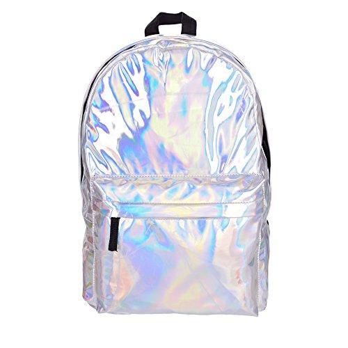Fringoo Damen oder Herren Rucksack, holografisch, für Schule, Reisen, Sport, Kabinengepäck, Fashion Bag Hipster mehrfarbig Holographic H41 - W30 - D15cm.