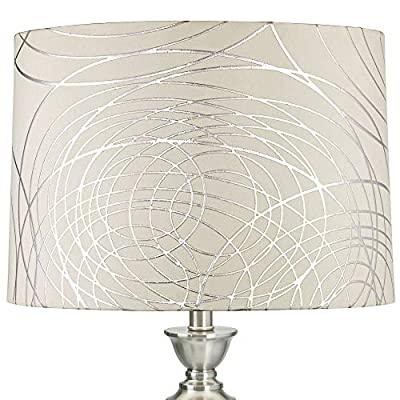 Off White Drum Lamp Shade Modern Silver Circles 15x16x11 (Spider) - Springcrest