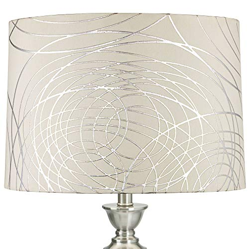 Off-White with Silver Circles Medium Drum Lamp Shade 15