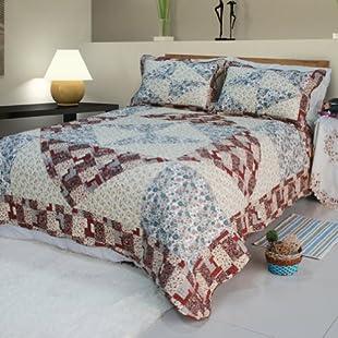 [Floral Journey] Cotton 2PC Floral Vermicelli-Quilted Patchwork Quilt Set (UK Single Size)/ (US Twin Size)