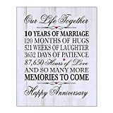LifeSong Milestones 10th Wedding for Couples, 10 Years of Marriage,120 Months of Love- Wall Plaque 8x10