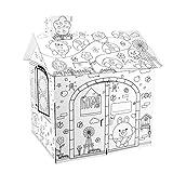 Qians Casa de Juegos de Manualidades Creativas para Colorear de cartón Grande, Interesante ensamblar y Pintar Juguetes educativos para niños, tamaño de la casa terminada, 21.26x16.93x27.17 Newcomer