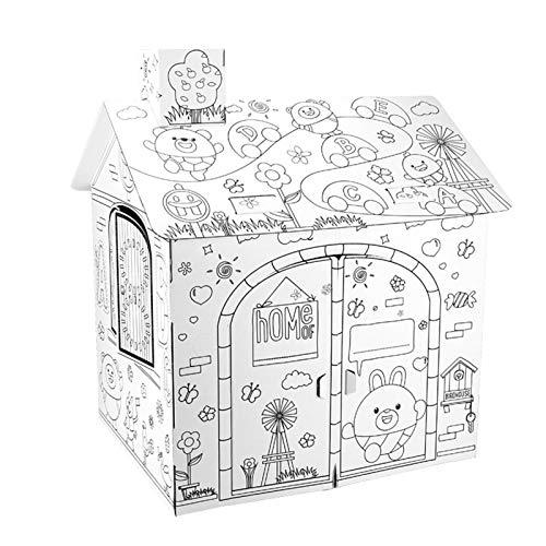 Swide DIY Cartón Grande para Colorear Artesanía Creativa Casa de Juegos, 2.2 pies de Alto Proyecto Ensamblar y Pintar Juguetes educativos, para niños. approving