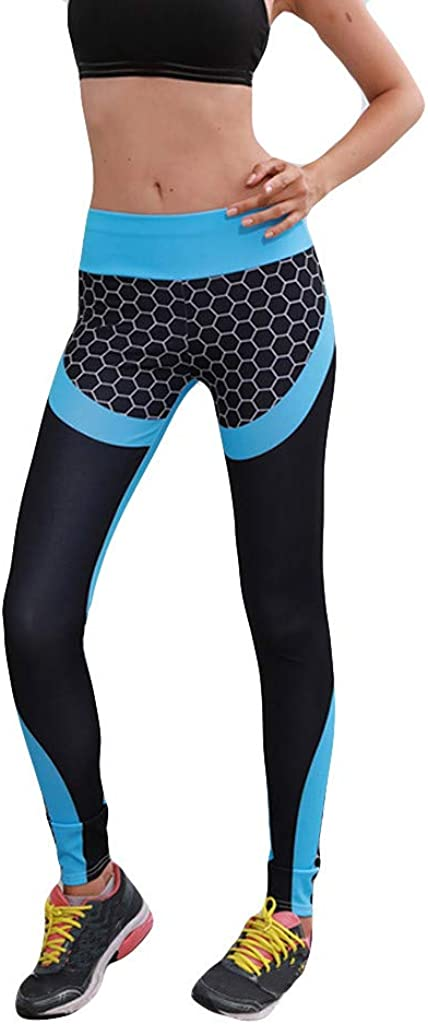 Portazai Womens Yoga Pants High Waisted Tummy Control Color Block Workout Fitness Running Leggings Stretch Sport Pants
