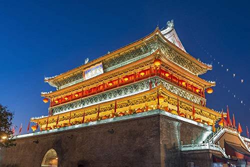 Xi'an, olieverfschilderij met digitaal nachtzicht van de toren van de trommel, knutselen, thuisdecoratie, cadeau, zonder lijst, romantische kunst voor kinderen, 40 x 50 cm