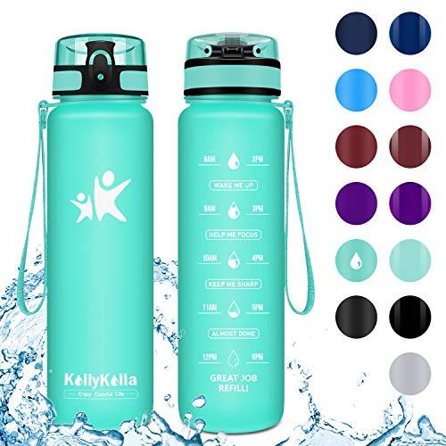 KollyKolla Botella Agua Sin BPA Deportes -350ml, Reutilizables Ecológica Tritan Plástico, Bebidas Botellas con Filtro & Marcador de Tiempo, para Niños, Tapa Abatible de 1 Clic, Aguamarina Mate