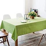 DAKEUR Mantel de Lunares Verde Fresco Pastoral, Mantel de algodón Grueso, Mantel de Mesa y té, Cubierta de 140 * 140 cm, Puntos Blancos Verdes